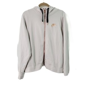 Nike Air Rose Gold Metallic Zip Up Spellout Hoodie